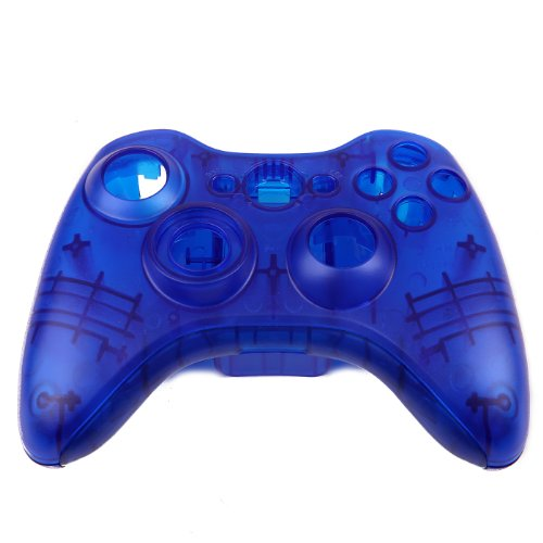 HDE Xbox 360 Wireless Controller Shell Buttons Thumbsticks Replacement Case Custom Cover Kit - Transparent Blue (Custom Controller Covers compare prices)