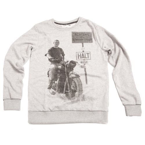 Mens Small Grey Sweatshirt with A Great British Classic Steve McQueen Print