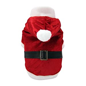 FouFou Dog Holiday Reversible Santa and Reindeer Suit, Large