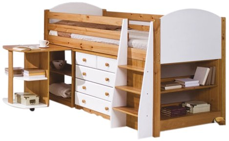 Verona Design Midsleeper Set, 201 x 106.2 x 123 cm, White/ Antique Pine