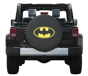 32-33″ Batman Spare Tire Cover – Premium Quality Soft Cover Made with Haartz® Black Denim Vinyl