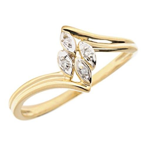 10k Gold Diamond Cluster Bypass Promise Ring