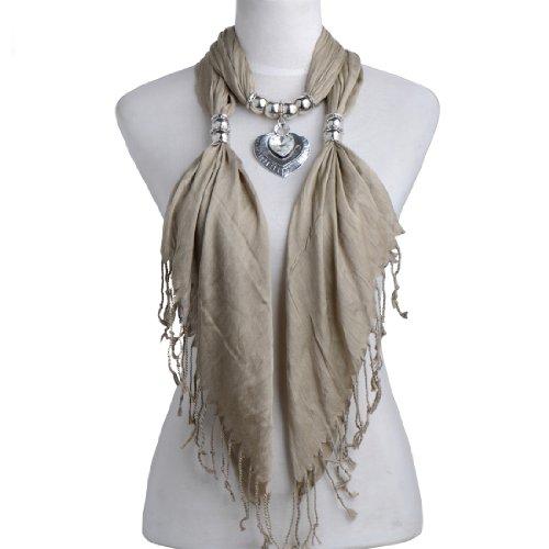 Huan Xun Luxurious Heart Charm Jewelry Pashmina Scarf