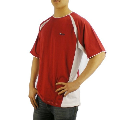 Fila Mens Athletic Red Short Sleeve Jersey Shirt Top