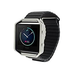 Eagwell Fitbit Blaze Accessory Band, Premium Soft Leather Loop Band with Strong Adjustable Magnetic Closure for Fitbit Blaze Smart Fitness Watch,Black (6.2-8.3 in)