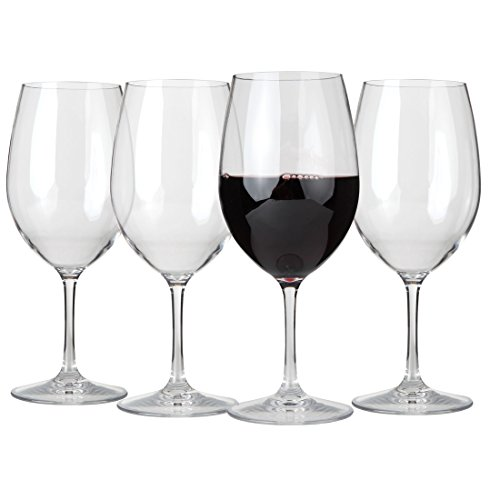 Lily's Home Unbreakable Indoor / Outdoor Cabernet / Merlot Wine Glasses, Shatterproof and Reusable. Set of 4. (Cheap Glass Cups compare prices)