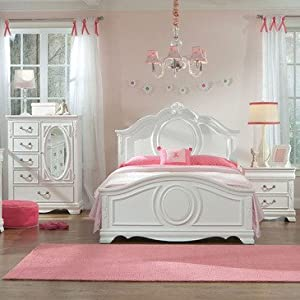 Amazon.com - Standard Furniture Jessica 3 Piece Kids' Panel Bedroom Set in White - Childrens