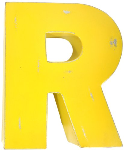 Found Object Sansarif 12-Inch Solid Letter Wall Hanging, Capital R, Yellow