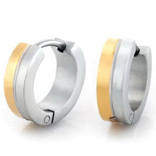 Stunning Mens Stainless Steel Hoop Earrings Silver Gold