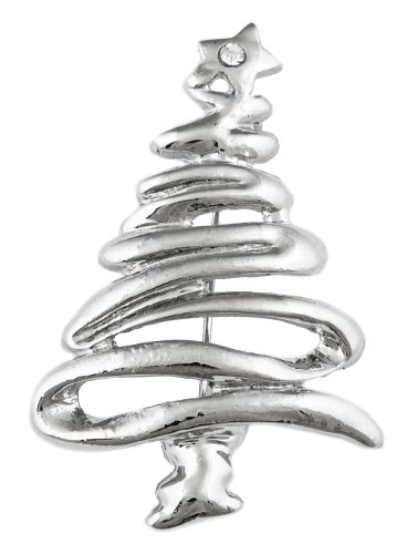 Silver Squiggly Style Christmas Tree Brooch &
