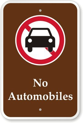 """No Automobiles (With Graphic) Sign, 18"""" X 12"""""""