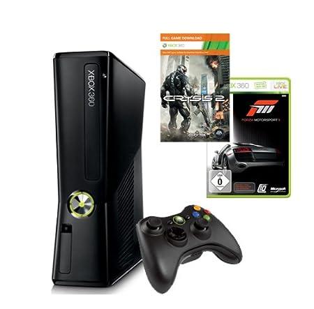 Xbox 360 - Konsole Slim 250 GB inkl. Forza 3 + Crysis 2, schwarz-matt