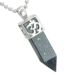"""Ancient OM Amulet Magic Powers Crystal Point Lucky Charm Blue Goldstone 18"""" Necklace"""