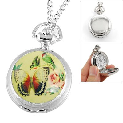 Rosallini Butterfly Birds Flower Decor Silver Tone Necklace Watch