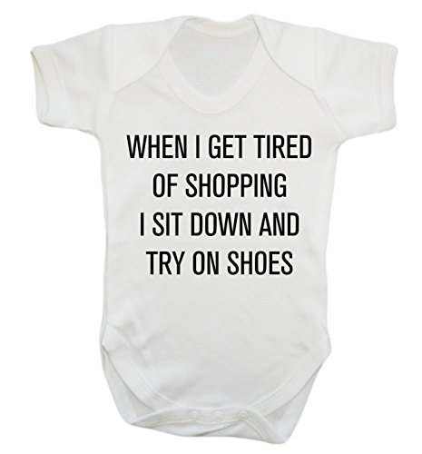 When I get tired of shopping I sit down and try on shoes baby vest bodysuit b...
