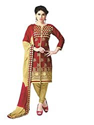 PShopee Maroon & Gold Cotton Embroidery Unstitched Multistylist Dress Material