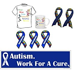 Autism Awareness Package - 1 shirt, 1 mug, 2 pins, 3 ribbon magnets & 10 bumper stickers
