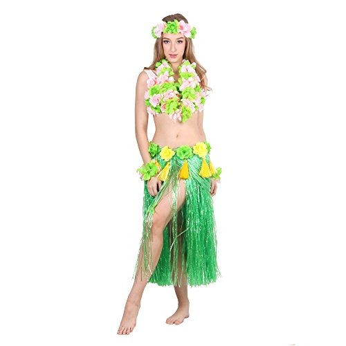 HOTER® Hawaiian Hula Dancer Grass Skirt With Flower Costume Set, Six-Piece Artificial Grass Skirt Set, Various Colors