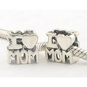 "Mothers Day Gift 925 Sterling Silver ""I Love Mom"" Charm for Pandora, Biagi, Chamilia, Troll and More Bracelets"