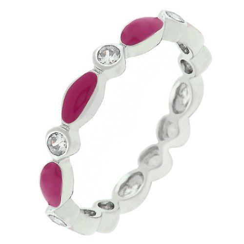 Round Cut Cubic Zirconia CZ and Fuchsia Enamel Silver Tone Promise Ring (Size 5,6,7,8,9,10)