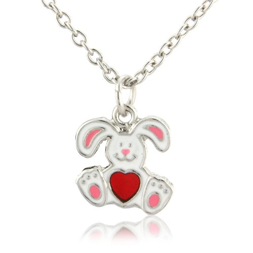 Children's white rabbit with red heart tummy necklace - matching earrings and ring available