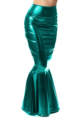 Halloween 2017 Disney Costumes Plus Size & Standard Women's Costume Characters - Women's Costume CharactersSidecca Faux Leather Wet Look Metallic Mermaid Costume Maxi Skirt-Teal-Small