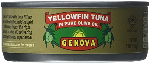 Genova, Yellowfin Tuna in Pure Olive Oil, 5-Ounce (Pack of 24) (Canned Tuna In Olive Oil compare prices)