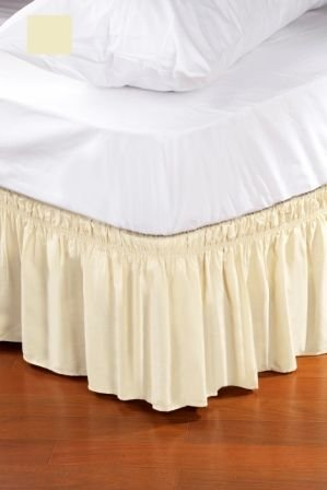 Lowest Price! Wrap Around Style Easy Fit Elastic Bed Ruffles KING/QUEEN Beige