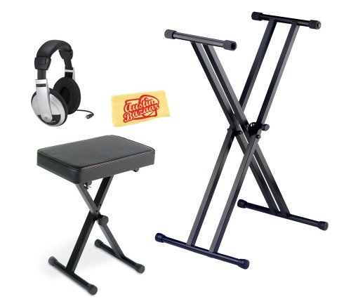 Yamaha Pkbb1 Keyboard Bench Bundle With Stand, Headphones, And Polishing Cloth