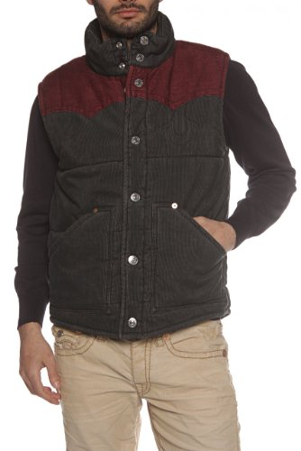 True Religion Gilet MENS CARTER CORDUROY, Color: Dark Grey, Size: L