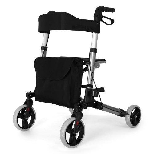 Déambulateur 4 roues pliant avec sacoche et freins - Rollator solide en aluminium (hauteur réglable, siège, réflecteurs) Argent