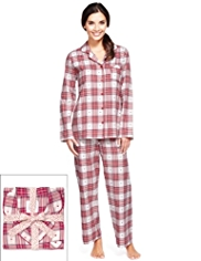 Pure Cotton Revere Collar Dobby Checked Pyjamas