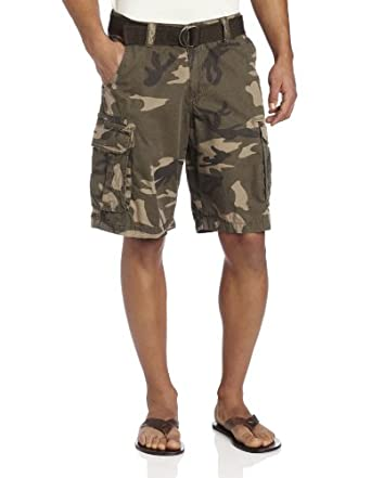 Lee Men's Dungarees Belted Compound Zipper Cargo Short, Battle Camo, 29