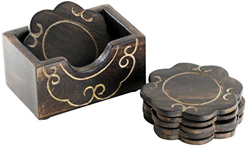 Set of 6 Wooden Flower Shaped Drink Coasters with a Holder  : 41er9XAcMCL from www.bta-mall.com size 500 x 296 jpeg 29kB