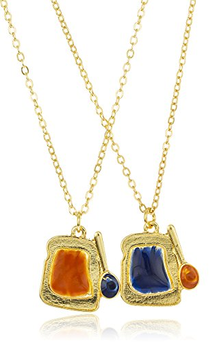 Goldtone Peanut Butter and Jelly Best Friend 18 Inch Adjustable Necklaces