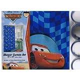 Disney Pixar Cars Fabric Shower Curtain + 12 Rings (Hooks)