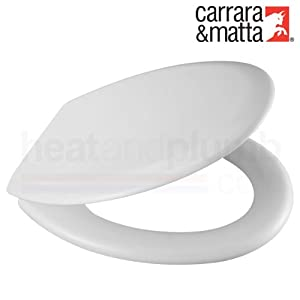 Carrara Matta DANUBE White Moulded Wood Toilet Seat And Cover With Adjustable
