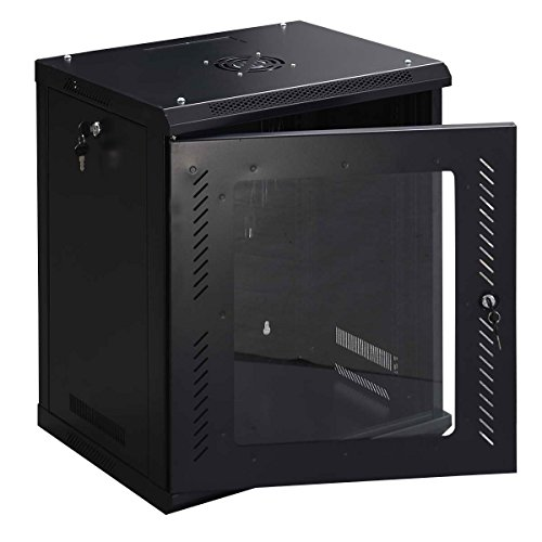 Safstar 12U Wall Mount Network Server Data Cabinet Enclosure Rack Glass Door Lock (Rack Cabinet compare prices)