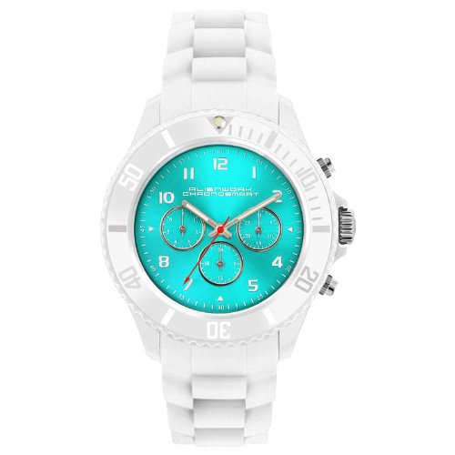 Alienwork Chronosmart Quartz Watch Multi-function Wristwatch Silicone turquoise white