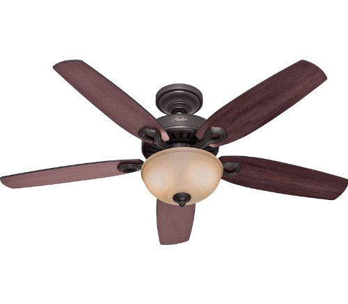 Hunter 21810 Builder Deluxe 52-Inch 5-Blade Single Light Ceiling Fan, New Bronze with Brazilian Cherry/Stained Oak Blades and Frosted Glass Bowl