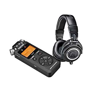 Audio-Technica ATH-M50x Professional Monitor Headphones, Black With Tascam DR-05 Portable Handheld Digital Audio Recorder