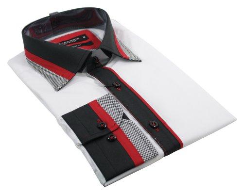Mens White Italian Shirt Black Red Design Smart or Casual
