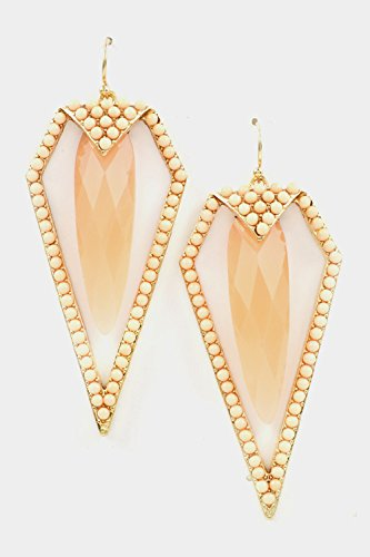 Trendy Fashion Jewelry Faceted Stone With Spike Beads Framed Earring By Fashion Destination   (Peach) front-221644