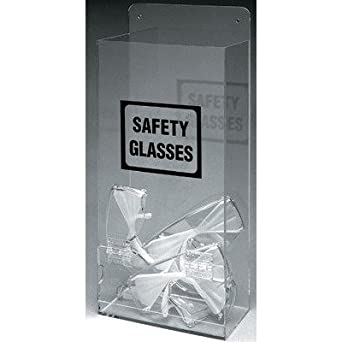 "Brady EHMVSD 17-1/4"" Height, 8"" Width, 4"" Depth, Plastic, Black On Clear Color Economy Visitor Spec Dispenser, Legend ""Safety Glasses"""