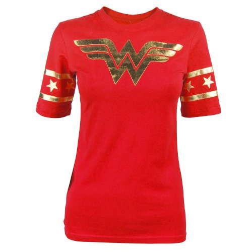 Wonder Woman Gold Foil Striped Sleeves Red Juniors T-shirt Tee (Juniors Large)