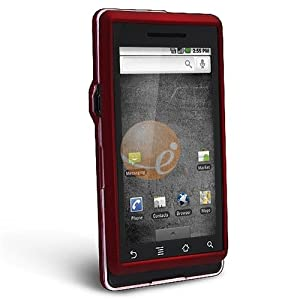 Clip-on Rubber Coated Case for Motorola A855 Droid, Red