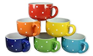 Francois et Mimi 14-Ounce Colored Ceramic Coffee/Soup Mugs, Large, Polka Dot, Set of 6