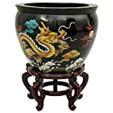 "Asian Art & Home Decor- 16"" Chinese Lacquer Porcelain Jardini�re Fishbowl Planter Urn- Dragon"