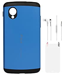 DMG iFace Firm Grip Back Cover for LG Google Nexus 5 (Blue) + White Earphones + Matte Screen