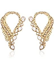 I Jewels Traditional Gold Plated American Diamond Earrings For Women EC103W (White)